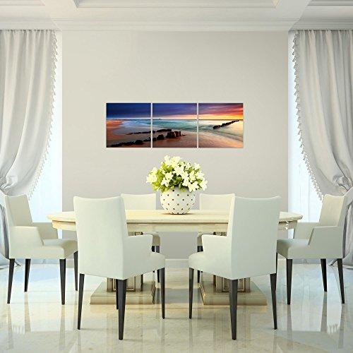 prestigeart-Bilder-Strand-Meer-Wandbild-Vlies-Leinwand-Bild-XXL-Format-Wandbilder-Wohnzimmer-Wohnung-Deko-Kunstdrucke-90-x-30-cm-Blau-3-Teilig-100-MADE-IN-GERMANY-Fertig-zum-Aufhngen-607834a