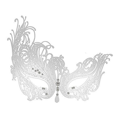 - Thmyo Women's Swan Metal Laser Cut Filigree Masquerade Costume Party Mask (Silver)