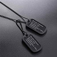 U7 Personalized Army Tag Custom Engraved 1/2 Pieces Dog Tags Pendant with Black Silicon Protector Medical/Emergency Alert ID Necklace