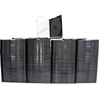 200 ULTRA THIN 5.2mm Clear CD Jewel Boxes with Built In Black Tray #CDBR52 - HALF THE THICKNESS OF A NORMAL CD JEWEL BOX!