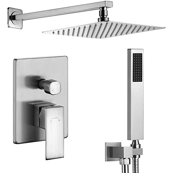 """Rainfall 16/"""" Shower Systems Wall Mounted Shower Combo Set W//Handheld Mixer"""
