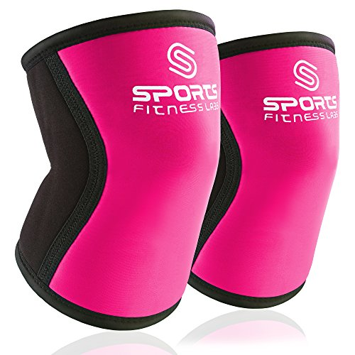 [Knee Sleeves (Large) Pink by Sports Fitness Labs - 7 mm Knee Support Wraps Best for WODs, Weightlifting, Powerlifting, Bodybuilding, Squats, Plyometics, Fitness - Men & Women - Pair of Knee Sleeves] (Hockey Wheel Axle)