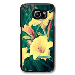 Samsung Galaxy S6 Edge, Galaxy S6 Edge Case - Thin Fit Black Hard Case for Samsung Galaxy S6 Edge Silent Morning With Yellow Flowers Anti-Scratch Hard Case for Galaxy S6 Edge