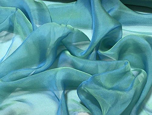 Aqua Peacock - Iridescent Silk Chiffon Fabric (Silk Fabric Chiffon)