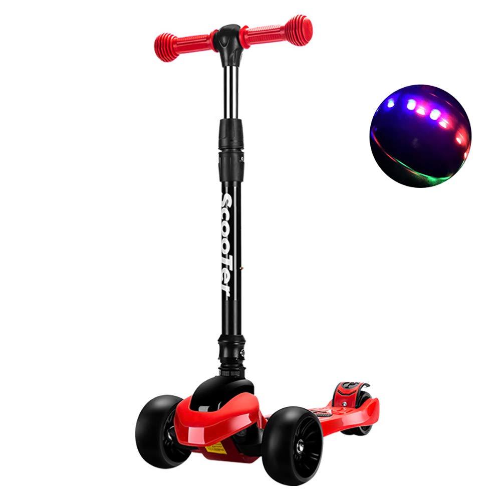 SSLC の三輪車のスクーターベルトのハンドルのための折りたたみ子供のスクーター、2から8歳までの子供のためのLEDライト付き3スクーター付き2-in-1スクーター  red B07S9RKFC1