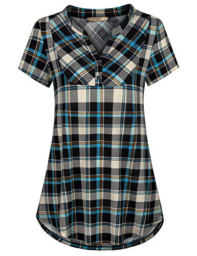 Miusey Stripped Shirts for Women,Juniors Striped Shirt Summer Short Sleeve Petite Button Tunic Blouse Checkered Plaid Pattern V Neck Mandarin Collar Relaxed House Wear Blue M