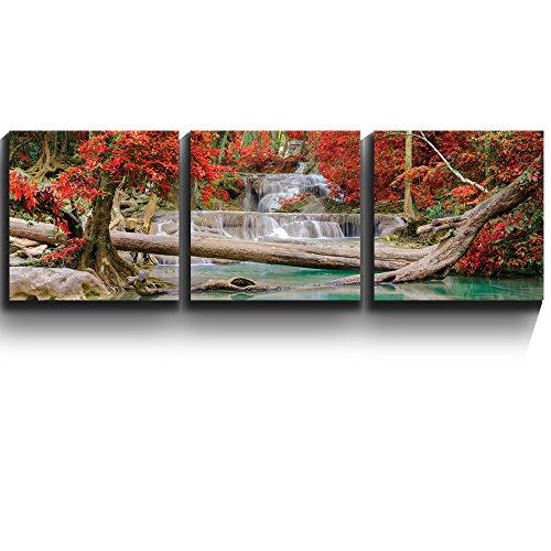 3 Square Panels Contemporary Art Stream and Waterfall in exotic location Three Gallery ped Printed Piece x 3 Panels