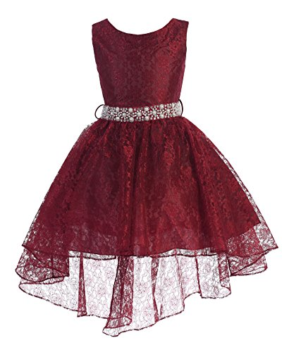 High Low Lace Dress Rhinestones Belt Pageant Flower Girl Dress Burgundy Size 4 Burgundy Flower Girl Pageant Dress