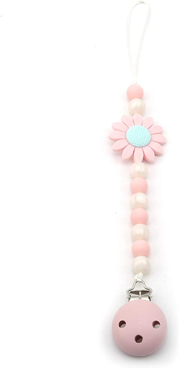 Soother Chain Flower Baby Teething Silicone Beads Bigsweety Dummy Clip Pacifier Holder Girl