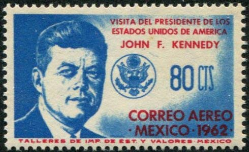 Mexico 1962 John F Kennedy Airmail Postage Stamp, Catalog No C262 (John Stamp Kennedy F)