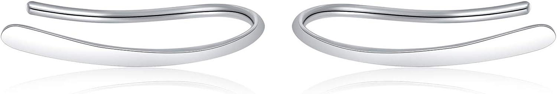 15mm Ear Crawler Earrings Hypoallergenic Ear Climber Earrings Bar White Gold Earrings Sterling Silver Ear Jacket