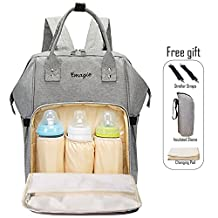 Diaper Bag Mummy Backpack Multi-Function Traveling Backpack Large Capacity Waterproof Nursing Bag for Baby Care Mummy Maternity Baby Nappy Changing Handbag with Stroller Straps Insulated Pocket and Changing Pad(Gray)