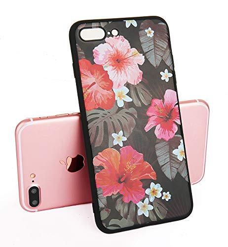 (Feelingjoy Compatible iPhone 7 Plus Case, iPhone 8 Plus Case Girl Floral Tropical Black TPU Flexible Slim Soft Rubber Protective Cover for 5.5)