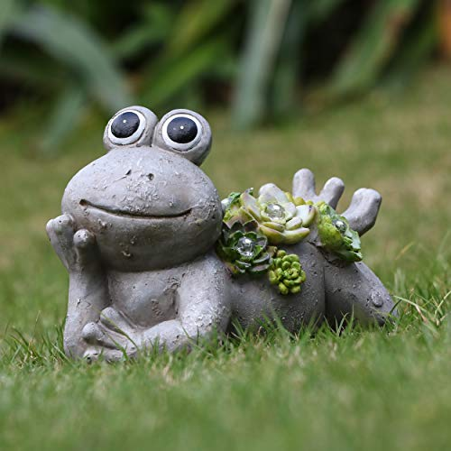 TERESA'S COLLECTIONS 7.3X4.5 Inch Garden Frog Statues,Solar Powered Garden Lights for Outdoor Patio Yard Decorations (For Garden Frog)