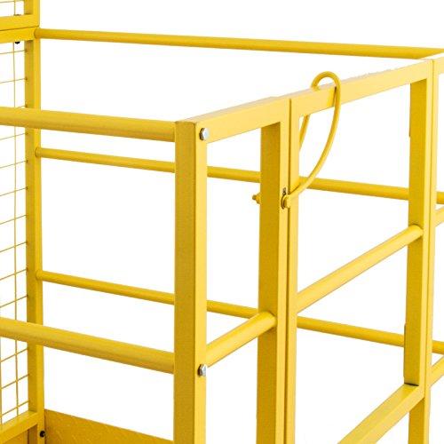 Mophorn Forklift Safety Cage 45 x 43 Inch Fork Lift Work Platform 1200lbs Capacity Heavy Duty Steel Forklift Safety Lift Basket Aerial Fence Rails Yellow Pallet loader Fork lift Safety Cage (45''x43'') by Mophorn (Image #6)