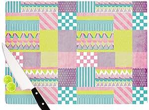 "Kess InHouse Louise Machado ""Patchwork"" Cutting Board, 11.5 by 15.75-Inch, Purple"