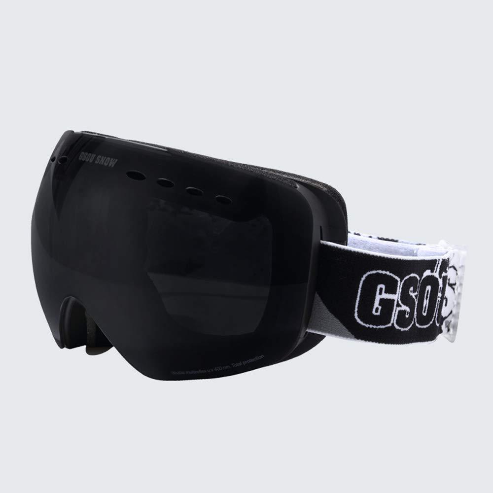 WJ スキーゴーグル スキーゴーグル - PC、ダブルアンチフォグ、広視野、UVプロテクション、近視、女性一般スキー、登山コート付きアンチフォールゴーグル (色 : 黒) 黒