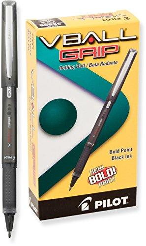 Pilot VBall Grip Liquid Ink Rolling Ball Pens, Bold Point, Black Ink, Dozen Box (35606)