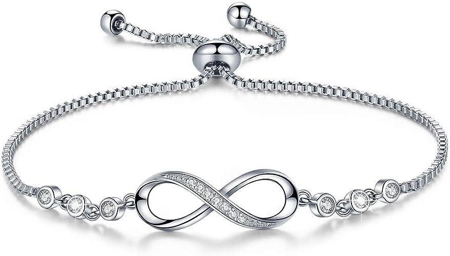 DESIMTION Infinity Symbol Charm Bracelet for Women Adjustable Bracelets Jewelry Gift for Teen Girls