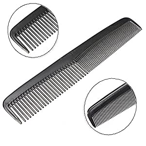 "Decent Hotel Quality Hair Comb Pocket Size for Men, 7.5"" long - Grooming, Hairdressing and Styling Combs for Hair - Durable Plastic, Black"