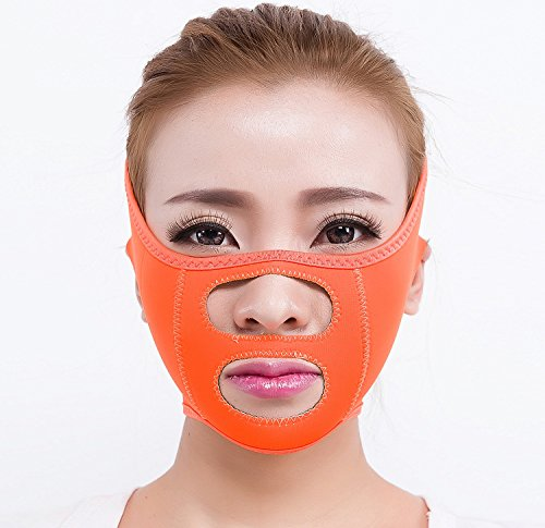 Face Lift Mask Full Face Lift-Silicone/Breathable/Full V Face Mask Neck Mask For Face Slimming/Anti Wrinkle-Orange
