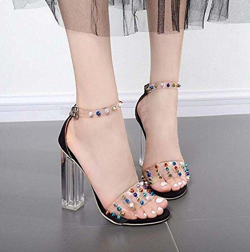 35 Fashion Buckle Size Toed 11CM Eu Shoes Sandals Transparent Belt Rivets Ankle 40 Black Heel Chunkly Dress Sandals Rivets Strap Color Women Crystal Open pW0qpRF1