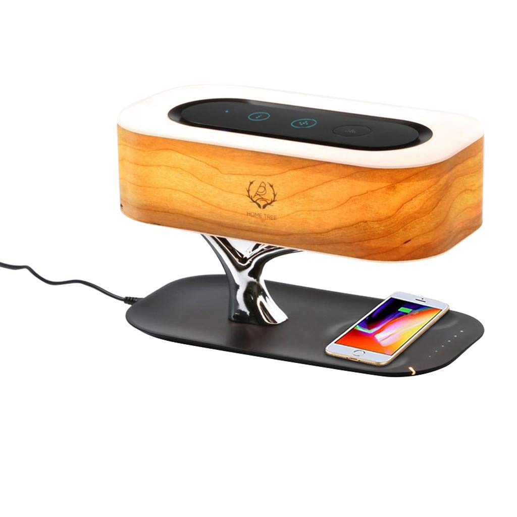 certainPL Bedside Table Lamp with Bluetooth Speaker and Wireless Charger, Touch Sensor, Sleep Mode, Stepless Dimming