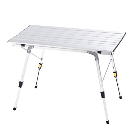 Camp Field Camping Table with Adjustable Legs for Beach, Backyards, BBQ, Party and Picnic Table A