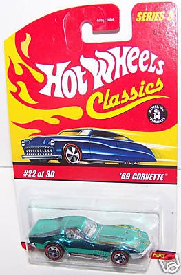 Hot Wheels Classics Series 3 69 Corvette 1969 Chevy Teal Green Paint 5 Spoke Red Line #22 of 30