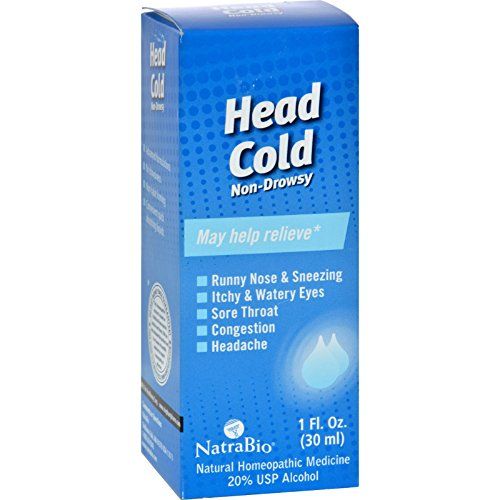 NatraBio Head Cold Non Drowsy - Homeopathic Remedy for Runny Nose and Sneezing - 1 fl oz (Pack of ()