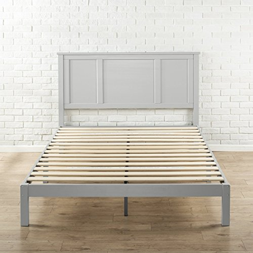 Zinus Andrew Wood Country Style Platform Bed with Headboard / No Box Spring Needed / Wood Slat Support, Queen