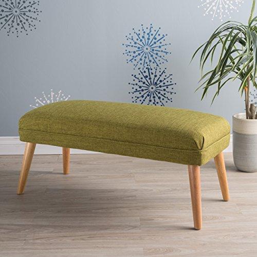 Dumont Mid Century Modern Fabric Ottoman (Green)