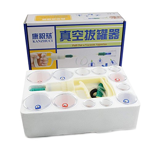 Professional Chinese Cupping Therapy Set, Biomagnetic Vacuum Cupping Massage Kit with 12 Cups and 1 Pumping Handle for Muscle Soreness, Trigger Point & Pain Relief, Cellulite, Swelling by COLOR CLEANER (Image #1)