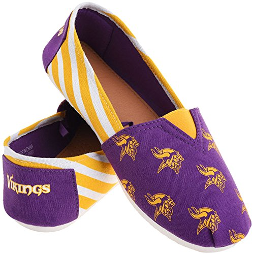 Summer Football Vikings Slip Stripes Ladies Team Pick Canvas Shoes Womens On NFL Forever Minnesota Collectibles 2015 0qIBBz