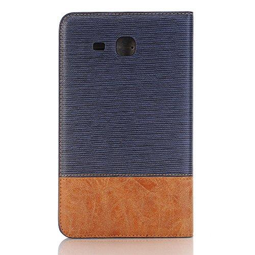 SRY-Funda móvil Samsung Cubierta rígida de plástico cubierta del soporte del tirón del tirón con la ranura para tarjeta, líneas cruzadas diseño del remiendo Caja de cuero de la PU para Samsung Galaxy  Dark Blue