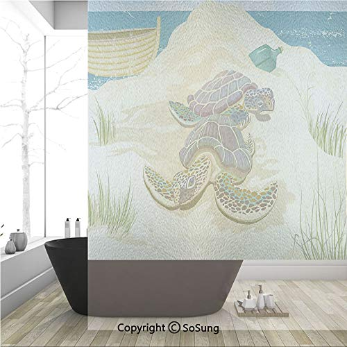 Sandy Turtle - 3D Decorative Privacy Window Films,Illustration of Two Sea Turtles on Sandy Summer Beach Boat Grass Bottle,No-Glue Self Static Cling Glass Film for Home Bedroom Bathroom Kitchen Office 36x48 Inch