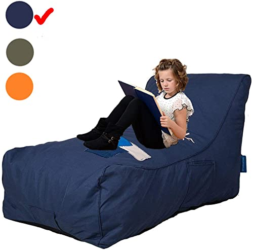 Livebest Bean Bag Chair – Floor Chair Couch Lazy Lounger Memory Foam Sofa with Dirt-Proof Oxford Fabric Side Pocket for Kids Age 2 and Up,MOM I m FINE,Sea Blue