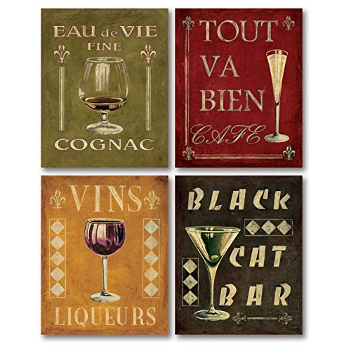 Gango Home Decor 4 Vintage Martini Wine Cocktail French Art Deco Prints Retro Bar Mounted Posters, Four 11 x 14-Inch Mounted Prints, Red Black Green Gold