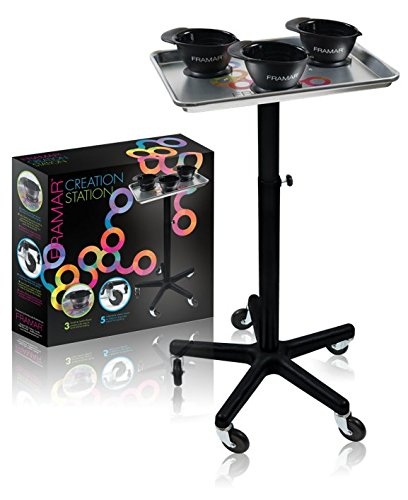 - Framar Creation Station Salon Trolley, Salon Cart, Storage Cart for Hair Salon - Aluminum Color Chemical Salon Service Tray with Rollerblade Wheels & 3 SureGrip Suction bowls