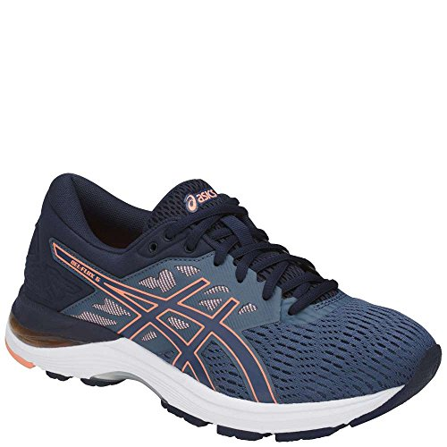 ASICS Womens Gel-Flux 5 Running Shoe, Blue/Canteloupe/Peacoat, Size 10