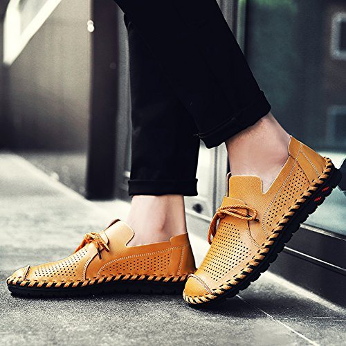 Mens Casual Cowhide Leather Soft Flat Shoes Handwork Cap-Toe Lace-up Low-Cut Loafers Golden Yellow 3 acW64Lb0