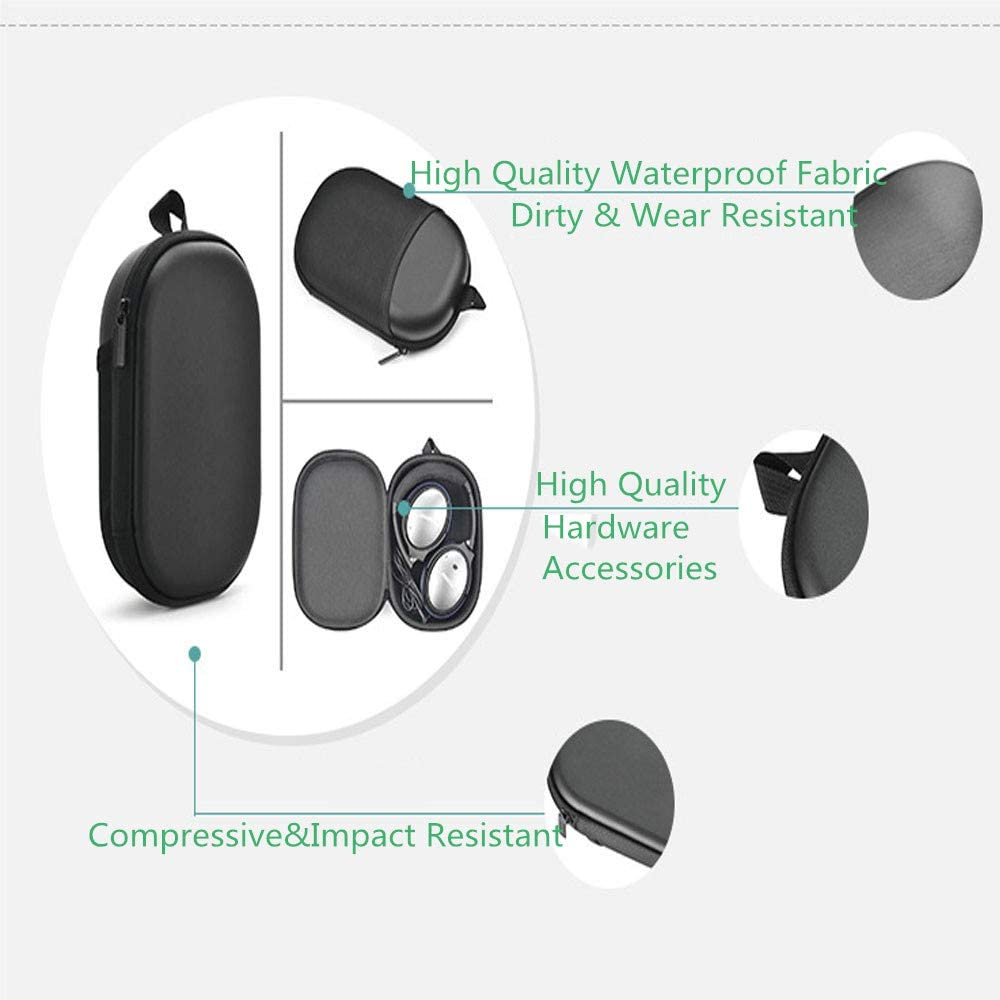 QC15 Wireless Bluetooth Headphone Headset Protective Travel Bag QC35 TopZK Headphone Hard Case Replacement for Bose QC35 QC25 Series II Black