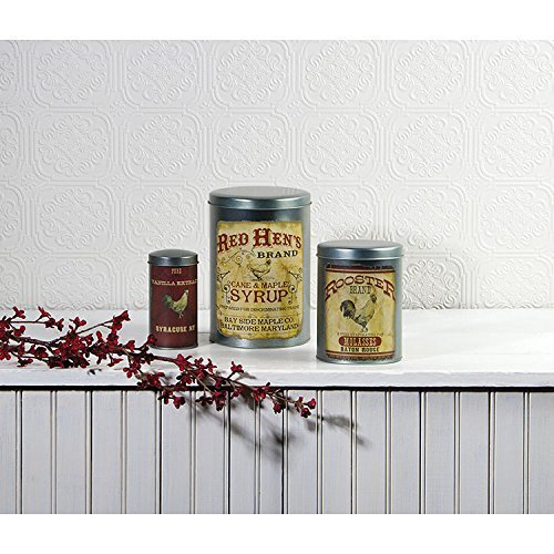 Ohio Wholesale Decorative Rooster Advertising Tins Set of 3 Food Storage Canisters (Containers Tin Wholesale)