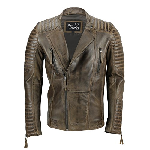 Fit Smart chaqueta hombre para Marrón Xposed cremallera abrigo Slim Washed de Casual Antique Vintage biker piel xRfxO4q