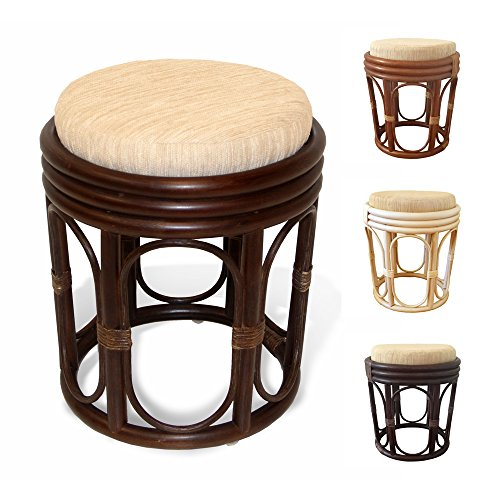 (Pier Handmade Rattan Wicker Vanity Bedroom Stool Fully Assembled Dark Brown)