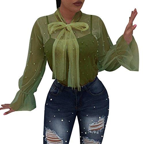 Pleated Washed Silk Dress - Goddessvan Women Summer Nail Bead Transparent Long Sleeve Tops Blouse (XL, Green)