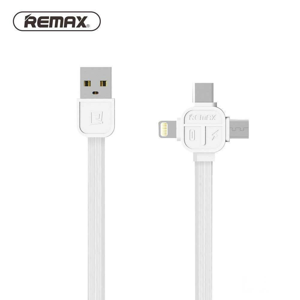 Remax Rc 066th 3 In 1 Apple Lightning Micro Usb Type C Cable Kabel Charge Data Full Speed 2 Meter Support Quick White Cell Phones Accessories