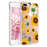 iPhone 8 Plus Case, iPhone 7 Plus Case with Flowers, JIAXIUFEN Clear Slim Shockproof Floral Pattern Soft Flexible TPU Silicone Back Cover [5.5 inch] - SunFlowers
