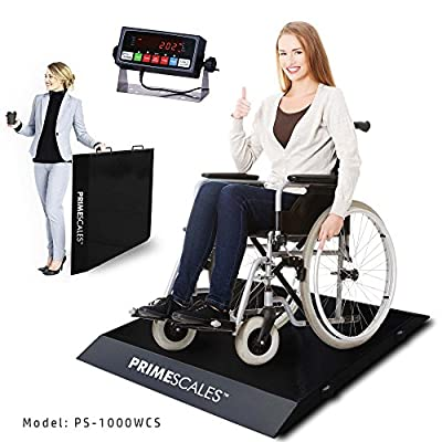 """PrimeScales Wheelchair Scale Ultra Portable 31"""" Wx33 Lx2.5 H Black Color One Pack PS-1000WCS"""