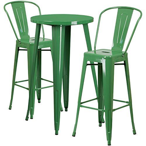 Flash Furniture 24'' Round Green Metal Indoor-Outdoor Bar Table Set with 2 Cafe Stools - 24' Round Bistro Table